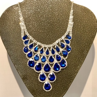 Blue Teardrops & Bling Statement Necklace