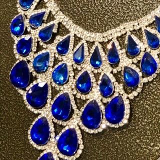 Blue Teardrops & Bling Statement Necklace